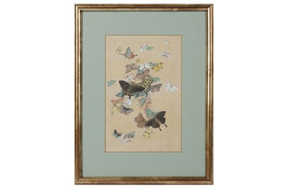 Lot 74-A SET OF TWELVE LATE 19TH CENTURY JAPANESE MEIJI PERIOD BUTTERFLY PAINTINGS