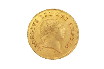 Lot 79-Half guinea, 1806 George III seventh laureate bust, R; crowned quartered shield within garter above date.