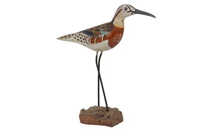 Lot 95-A PAINTED CARVED WOOD MODEL OF A SANDPIPER