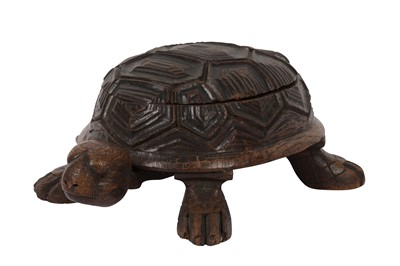 Lot 91-A NOVELTY TORTOISE CARVED WOODEN BOX