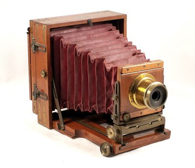 Lot 51-Brass Bound Lancaster Half Plate Field Camera with Maroon Bellows