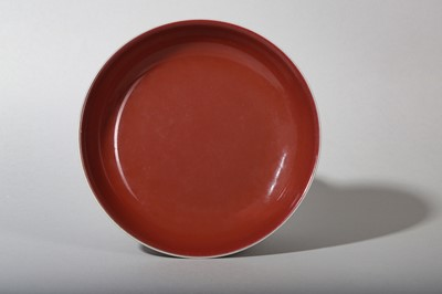 Lot 5-A CHINESE COPPER RED-GLAZED DISH.