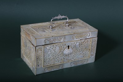 Lot 41-A CHINESE CARVED MOTHER-OF-PEARL RECTANGULAR TEA CADDY.