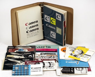 Lot 465-A Good Selection of Catalogues & Instruction Books for Canon Rangefinder Cameras & Lenses.