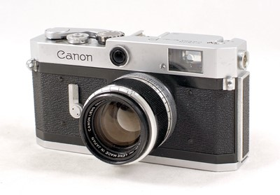 Lot 81-Canon P (Populaire) Rangefinder Camera & 50mm f1.8 Lens