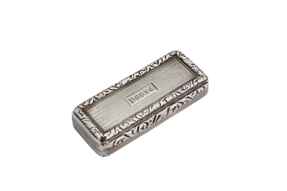 Lot 12-A George IV sterling silver snuff box, Birmingham 1827 by Edward Smith