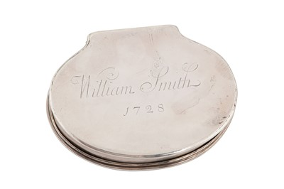 Lot 14-A George I Britannia standard snuff box, London 1716 by HA crown above, mullet below (Unidentified Grimwade 3598) overstriking another, with an anchor