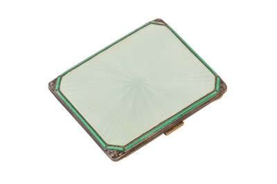 Lot 54-Egyptian Royal interest – A George VI art deco guilloche enamel sterling silver gold set cigarette case, Birmingham 1939 by Adie Brothers