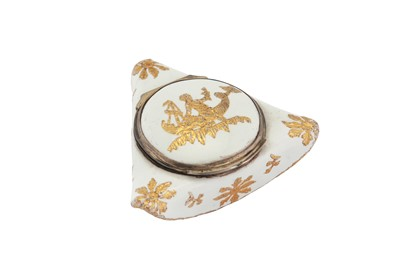Lot 83-A mid-18th century German enamel novelty bonbonniere or snuff box, Berlin circa 1750 probably by Fromery, with Louis XV French silver mounts Pairs 1750-56
