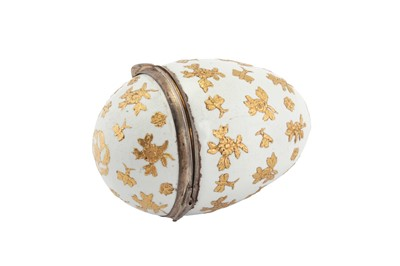 Lot 82-A mid-18th century German enamel novelty bonbonniere or snuff box, Berlin circa 1740 probably by Fromery, with Louis XV French silver mounts Pairs 1738-44