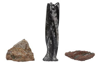 Lot 24-AN ORTHOCERAS FOSSIL AND TWO GEODE SPECIMENS