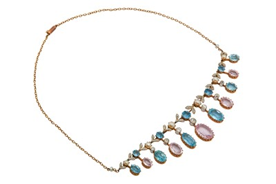 Lot 1210-A pink topaz, aquamarine, pearl and diamond necklace, circa 1910