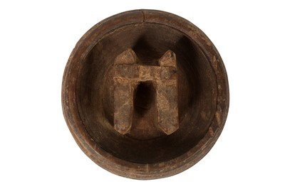 Lot 68-AN ANCIENT CHINESE PERIOD CARVED WOODEN 'BUFFALO' BOWL
