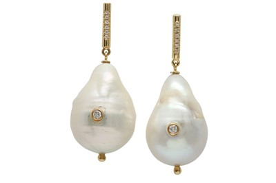 Lot 1213-A pair of cultured pearl and diamond earrings