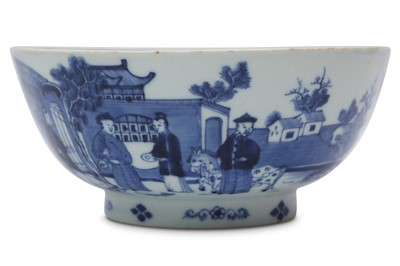 Lot 39 - A CHINESE BLUE AND WHITE 'LANDSCAPE' BOWL.