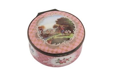 Lot 85-A mid-18th century English enamel bonbonniere or table snuffbox, Staffordshire circa 1760