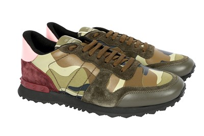 Lot 1238-Valentino Green Camouflage Rockstud Trainers - Size 43