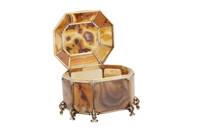 Lot 47-A late 19th century unmarked silver gilt mounted banded agate casket, probably Austrian, Vienna circa 1890