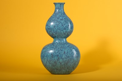 Lot 46-A CHINESE ROBIN'S EGG-GLAZED DOUBLE GOURD VASE.