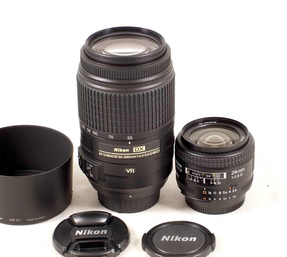 Lot 446-Nikkor 24mm f2.8 & 55-300mm AF-S G Lenses.