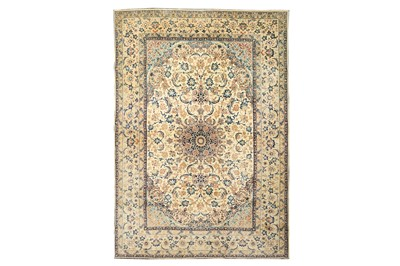 Lot 39-AN EXTREMELY FINE PART SILK ISFAHAN RUG, CENTRAL PERSIA