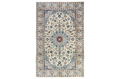 Lot 29-A VERY FINE PART SILK NAIN RUG, CENTRAL PERSIA
