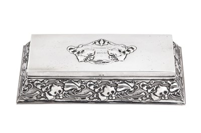 Lot 40-An Edwardian sterling silver 'Art Nouveau' jewellery casket, Birmingham 1902 by Horton & Allday