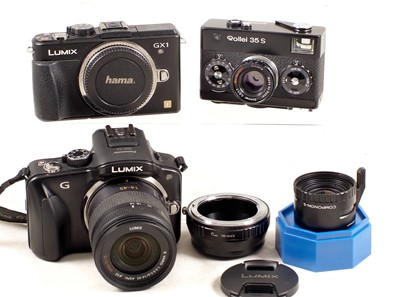Lot 457-Panasonic Lumix G & GX1 Compact Digital Cameras etc