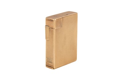 Lot 29-A George VI Art Deco 9 carat gold lighter, London 1949 by S. J. Rose