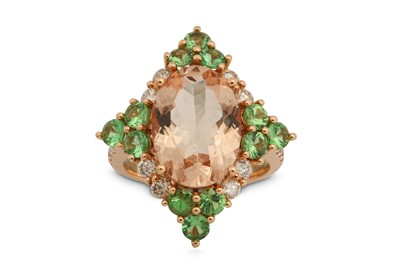 Lot 1221-A morganite, green garnet and diamond dress ring