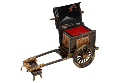 Lot 78-A JAPANESE LACQUER NOVELTY MUSICAL JEWELLERY BOX IN THE FORM OF A CARRIAGE