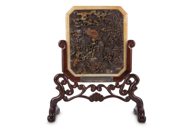 Lot 32 - A CHINESE CARVED SOAPSTONE TABLE SCREEN.