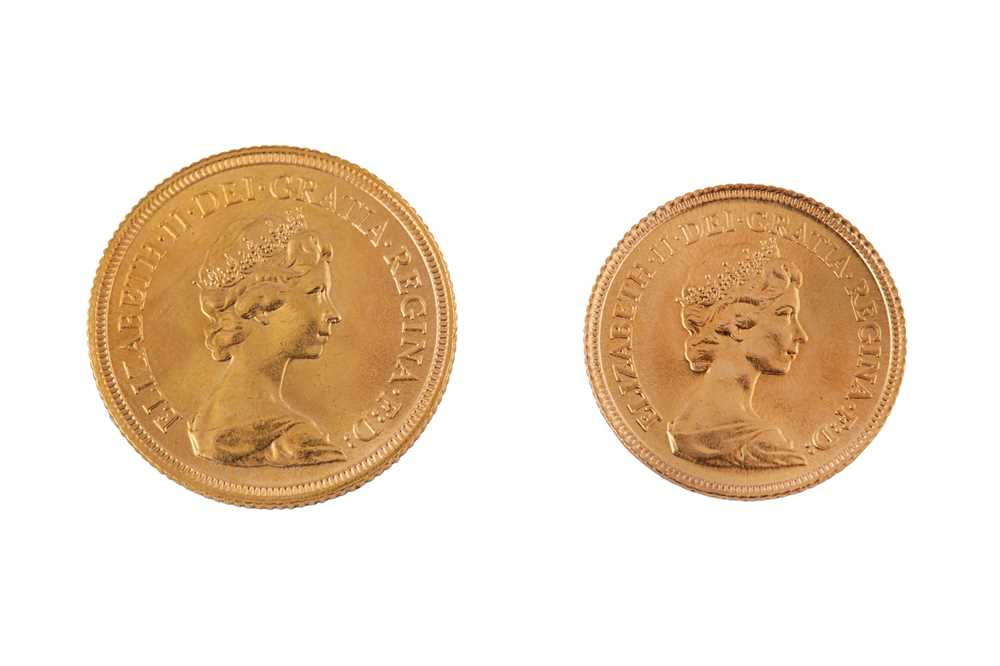 An Elizabeth II gold full sovereign dated 1981 and half sovereign 1982