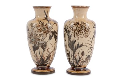 Lot 9-Martin Brothers - a pair of stoneware vases