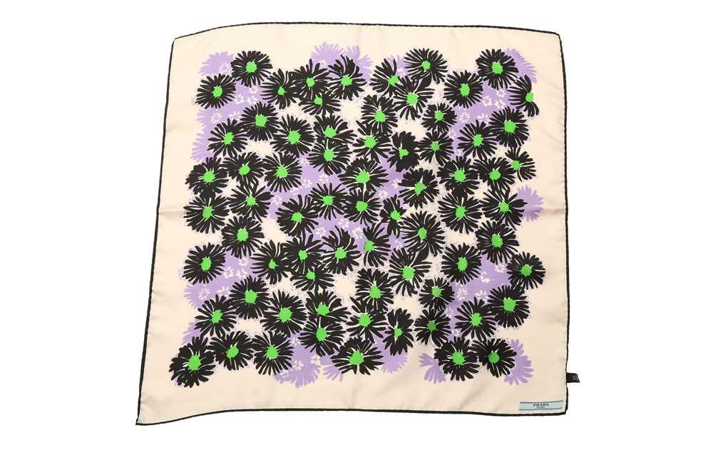 Lot 1237-Prada Abstract Flower Silk Square