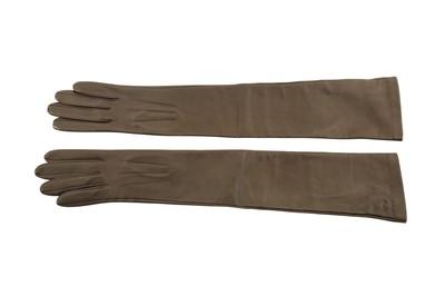 Lot 1253-Celine Brown Long Leather Gloves - Size 6,5