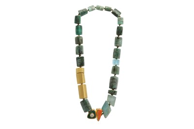 Lot 1244-λ A hardstone and diamond necklace