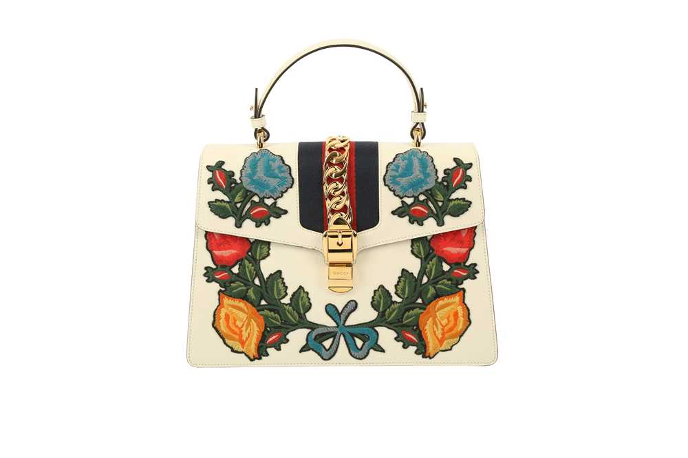 Lot 1200-Gucci White Embroidered Medium Sylvie Bag