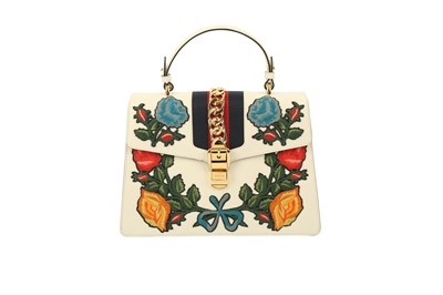 Lot 1200-Gucci White Embroidered Medium Sylvie Bag