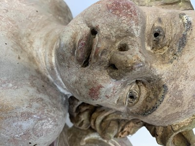 Lot 26 - A PAIR OF LATE 17TH / EARLY 18TH CENTURY SOUTH GERMAN CARVED AND PAINTED WOOD PUTTI