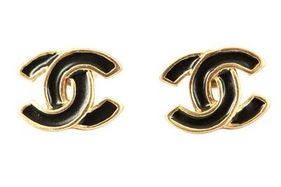 Lot 1269-Chanel Black CC Logo Earrings