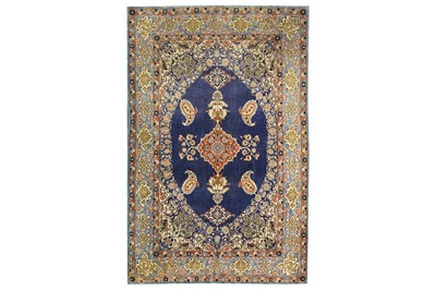 Lot 45-AN EXTREMELY FINE SILK QUM RUG, CENTRAL PERSIA