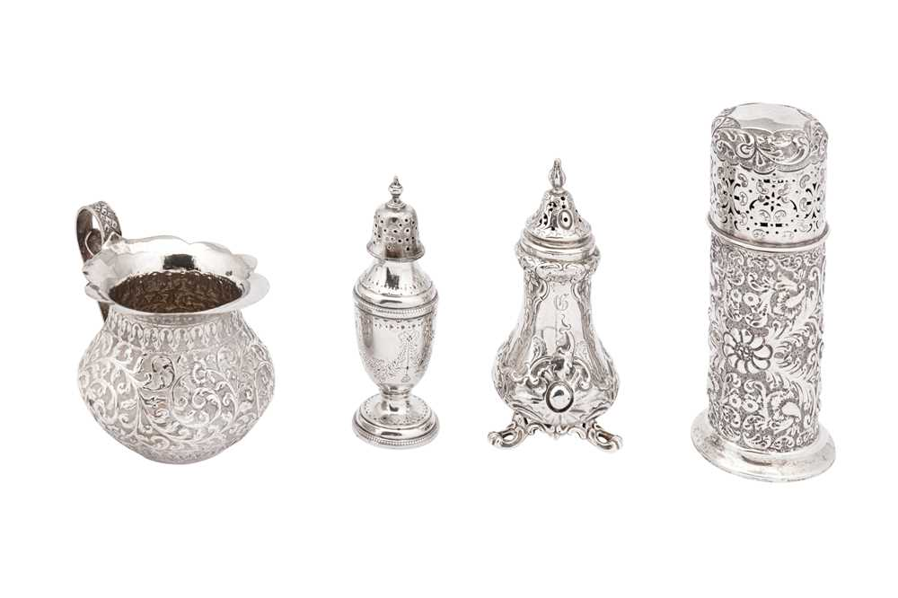 Lot 10-A mixed group of sterling silver including a Victorian pepper pot, London 1852 by John Evans