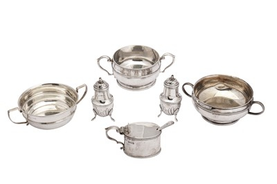 Lot 19-A mixed group of sterling silver twin handled sugar bowls
