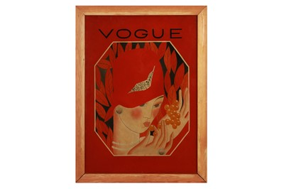 Lot 33-VOGUE: an Art Deco style reverse painting on glass