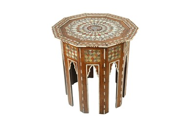 Lot 821-λ A MOTHER-OF-PEARL AND TORTOISE SHELL-INLAID OCCASIONAL TABLE WITH TUGHRA
