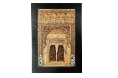 Lot 800-A LARGE AND IMPRESSIVE GILT AND POLYCHROME-PAINTED PLASTER RELIEF PLAQUE OF THE ALHAMBRA