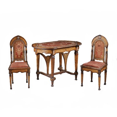 Lot 854-λ A SET OF MOTHER-OF-PEARL-INLAID WOODEN CHAIRS AND TABLE MADE FOR THE EXPORT MARKET