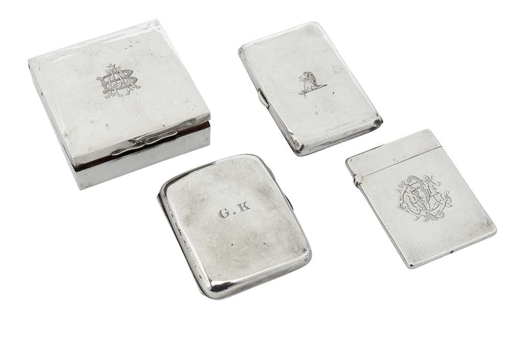 Lot 17-A mixed group including a Victorian sterling silver card case, London 1883 by Alfred Hall & John Goode