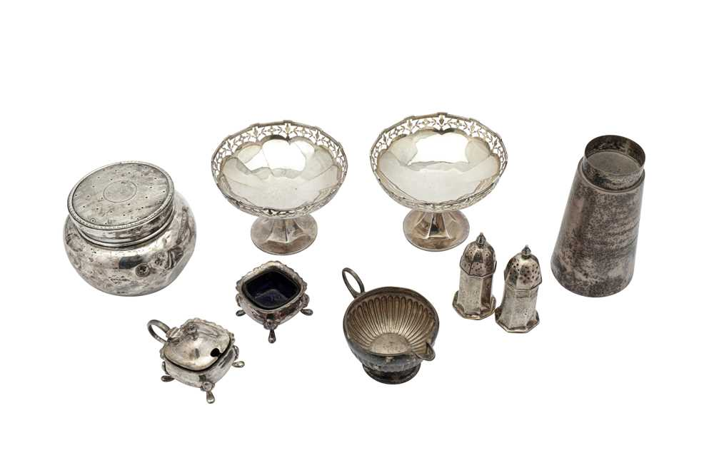 Lot 28-A mixed group of sterling silver including a pair of George V pedestal bon-bon dishes Birmingham 1913 by E S Barnsley & Co